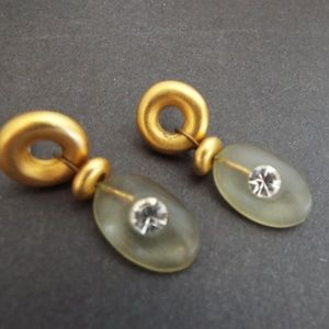 Camphor Glass Rhinestone Vermeil Dangle Earrings